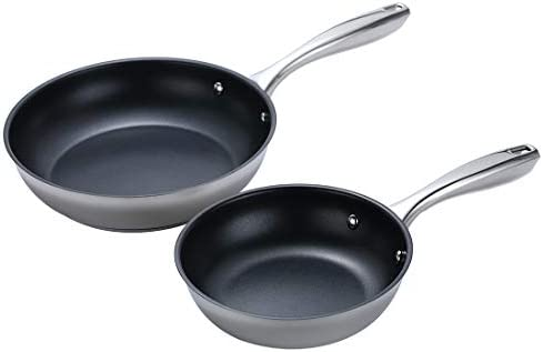 Momscook 2-Piece Stainless Steel Nonstick Multi-Layer Base Omelet Fry Pan Saute Pan, 8-Inch and 10-Inch, Dishwasher Safe Omelet Pans
