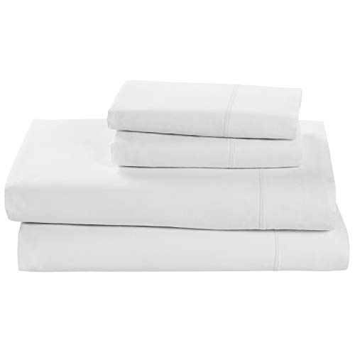 Easy Care White King - Rivet Soft 100% Percale Cotton Bed Sheet Set, Easy Care, California King, White