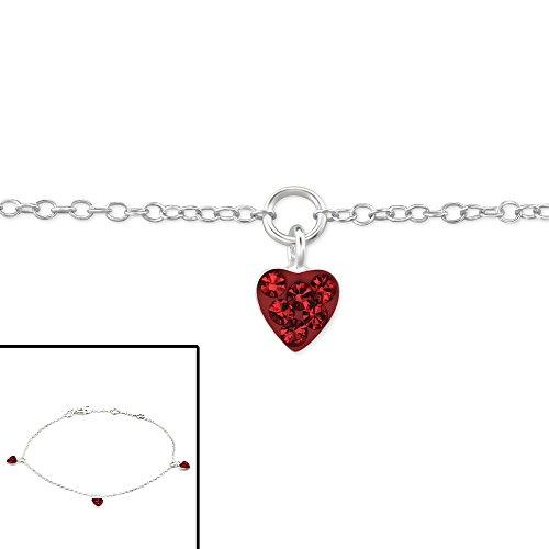 Siam Sterling Bracelet (Atik Jewelry Silver Triple Heart Bracelet - Light Siam)
