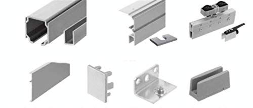 CRL CRL701 70 Satin Anodized Series Single Sliding Door with Fixed Panel Wall Mount Kit
