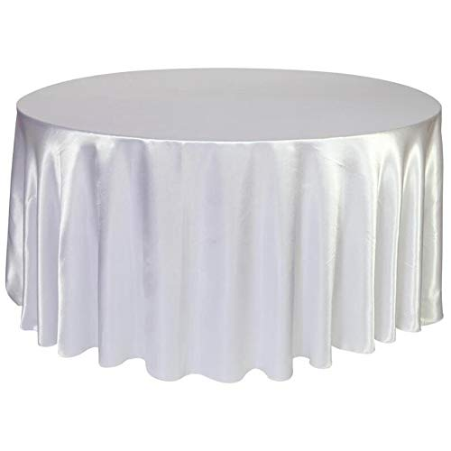 BIT.FLY 57 inch Round Tablecloths for Wedding Banquet Satin Circular Table Cover Birthday Holiday Dinner Party Decoration Table Cloth - White