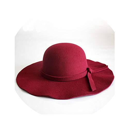 Women Wide Brim Hat Felt Bowler Cap Lady Floppy Cloche Solid Bowknot Elegant Sun Hat,Burgundy,One Size -