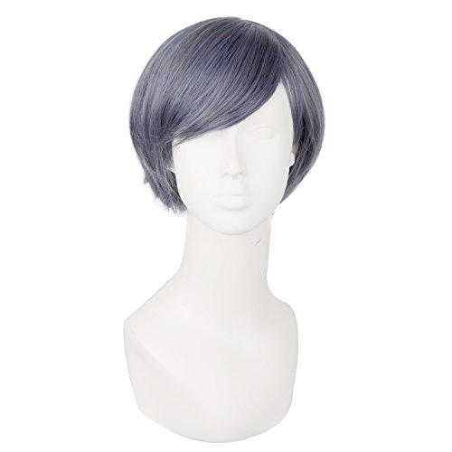 [MapofBeauty Mixed Dark Grey Short Straight Cosplay Party Wig] (Wigs For Mens)