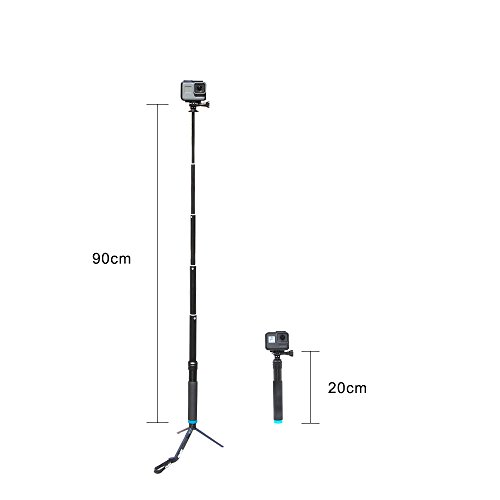 TELESIN 6-in-1 Aluminum Alloy Handheld Extendable Pocket Purse Size Monopod Selfie Stick with Mini Tripod & Tripod Mount & Phone Clip for Apple, Android Smartphones, Gopro camera - Black