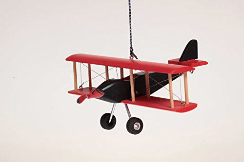 Hanging Airplane For Children Kid Room Nursery Fly Vintage Decor Red Black Wooden 5''
