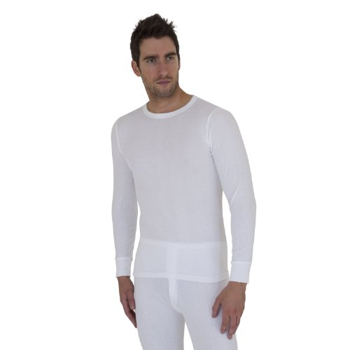 Mens Thermal Underwear Long Sleeve T Shirt Top (British Made) (Chest: 36-38inch (Medium)) (White)