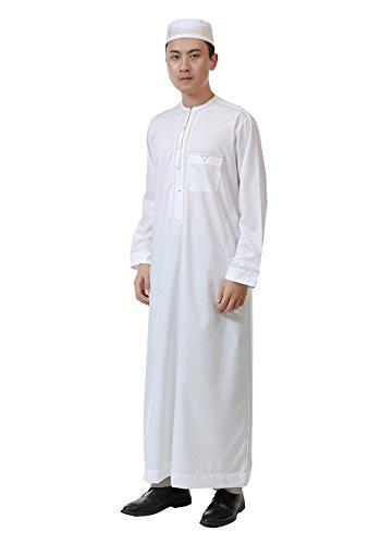 7f0b21be GladThink Men's Arab Muslim Islamic Worship Long Thobe with Long Sleeves