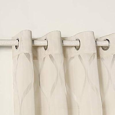Tende trasparente con 8 OLLAO (1 pannello, 140 x 260) per soggiorno e camera. Tende di 140_x_260_cm (Sabbia). Modello Helen