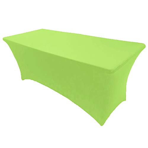 Lime Tablecloths - GWHome 6' ft Spandex Fitted Stretch Tablecloth Rectangular Table Cover Wedding Banquet Party (Lime, 6' ft)