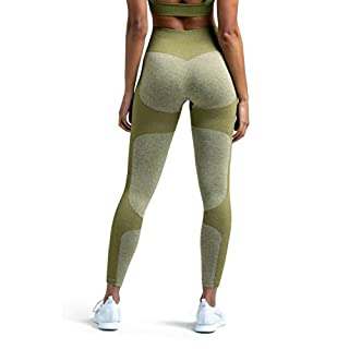 MOYOOGA Seamless Workout Leggings for Women High Waisted Leggings for Yoga Gym Sports (Large, Olive Green)