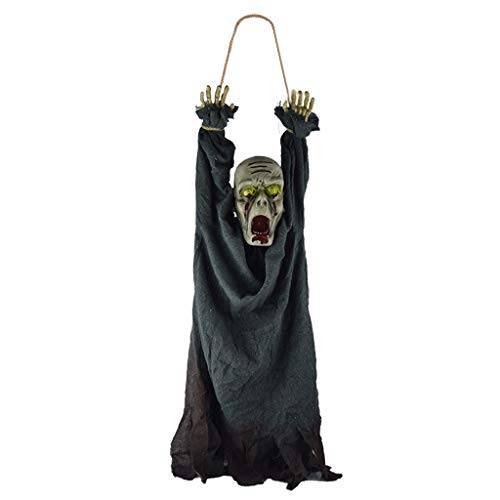 Oksale Halloween Decoration Horror Zombie Skeleton Bloody Haunted Animated Prop Decorations Hanging Corpse with Creepy Sound and Glowing Eyes Props