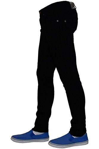 hombres Skinny serie Nueva del siete estiramiento pantalones Jeans dril de Black algodón de mosca Zip Fit algodón del wYBBtqd