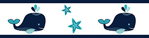 Sweet Jojo Designs Baby, Childrens and Kids Wall Paper Border for Blue Whale Collection