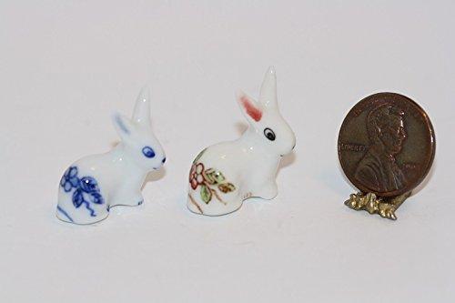 爆売り! Miniature Miniature Set of 2 Porcelain Rabbits Rabbits or or Bunnies in 1:12 Scale B01AB6QQXW, ウミマチ:d359ee08 --- diceanalytics.pk
