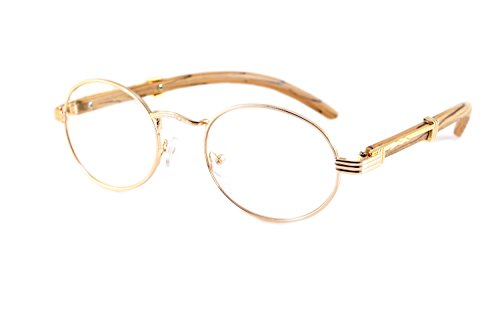 FBL Vintage Oval Clear Lens Metal & Wood Feel Eyeglasses A103 (Rose Gold/ Beige - Oval Eyeglasses