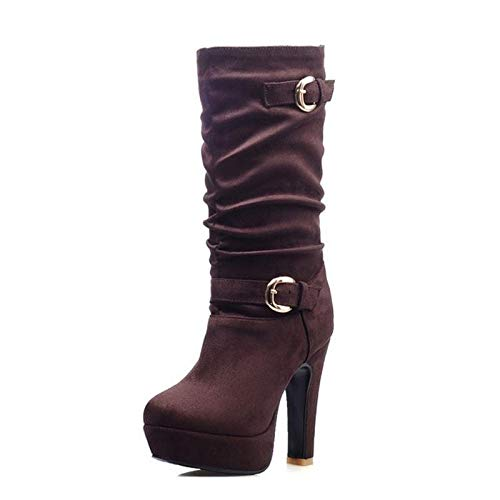 Size Winter High Platform 32 Lady Warm 43 Buckle Office Marrón Heels Boots Shoes Haoliequan Women fHPvqn