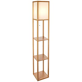 Brightech Maxwell - Modern LED Shelf Floor Lamp - Skinny End Table & Nightstand for Bedroom - Combo Narrow Side Table with Standing Accent Light Attached - Asian Tower Book Shelves - Natural Wood