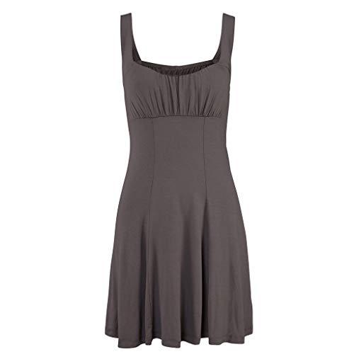 Bodice Mini - wodceeke Women Casual O-Neck Sleeveless Off Shoulder Solid Color Short Bodice Mini Dress(Brown,L)