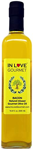 Natural Bacon - In Love Gourmet Bacon Natural Flavor Infused Olive Oil 500ml-16.9oz Best Bacon Oil Choice for Meats, Veggies, Popcorn & Breads