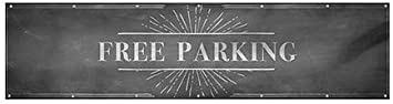 CGSignLab Free Parking Chalk Burst Heavy-Duty Outdoor Vinyl Banner 12x3