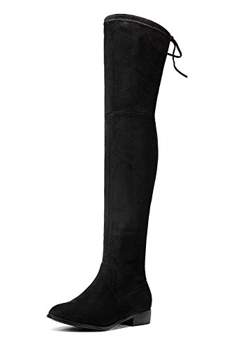 0ff8b589ee04a Royou Yiuoer Women's Over The Knee Boot Suede Fashion Slouch Drawstring  Pull On Thigh High Bootie Black 8 B(M) US