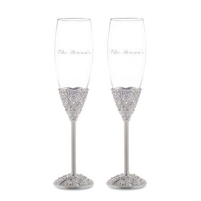 Things Remembered Personalized Elizabeth Champagne Flute Set with Engraving Included