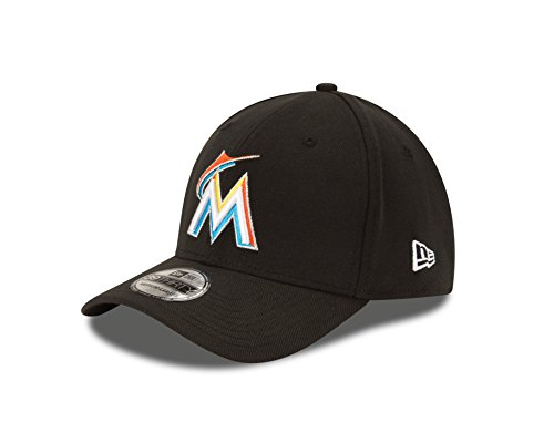 New Era MLB Miami Marlins Team Classic Home 39Thirty Stretch Fit Cap, Black, (New Era Stretch Cap)