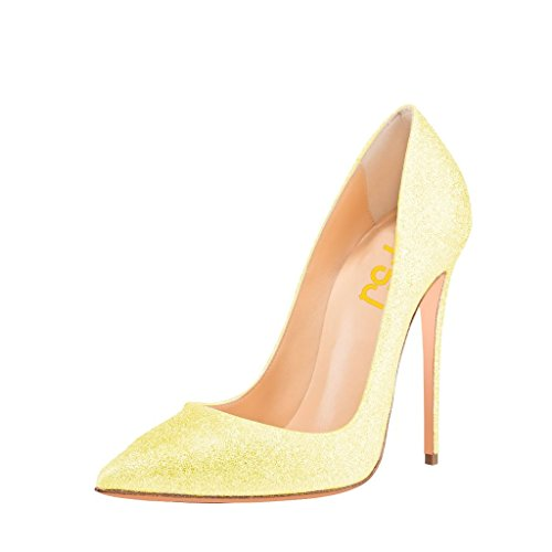 FSJ Women Classic High Heels Stilettos Pointed Toe Pumps Wedding Shoes With Glitter Size 4-15 US Yellow