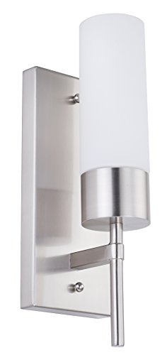 Cerdeco SW67320 1-Light Wall Sconce, Satin Nickel Finished, Ivony-white Glass Shade, UL Listed - Ul Satin Sconce