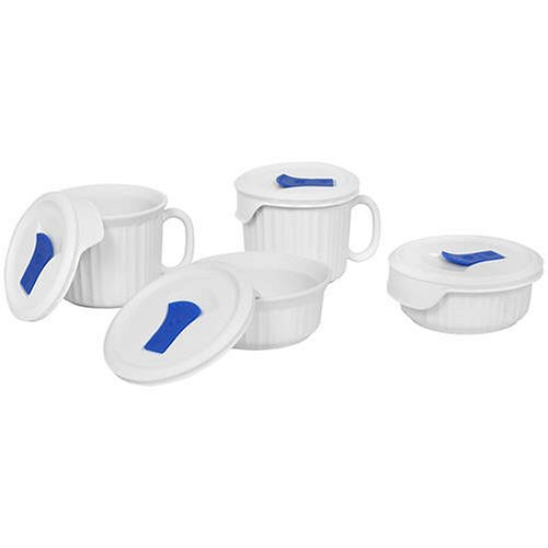 (CorningWare 1044081 882374607838 French White Pop-Ins 8-Piece Round Bake and Serve Set)