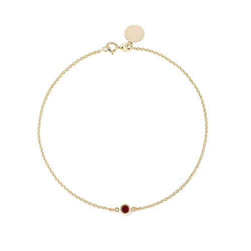 (TousiAttar Ruby Solitaire Bracelet - Bezel set - Solid 14K or 18K Gold - Natural Red Stone - Elegant Jewelry Gift for Girlfriend - Delicate July Birthstones - Free Engraving)