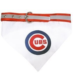 Pets First MLB Bandana - Chicago Cubs Dog Bandana with Reflective & Adjustable Dog Collar, - Collar Stripe Reflective