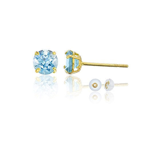 14K Yellow Gold 4.00mm Round Aquamarine Stud Earring 14k Aquamarine Stud