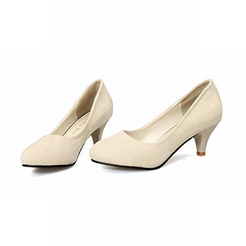 Latasa Womens Fashion Nubuck Mid Heel Casual Pumps Shoes Beige 0i0Sh3d6H