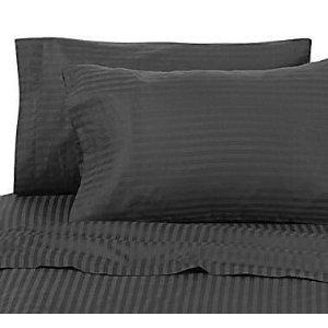 wrinkle free damask stripes black queen size microfiber sheet set deep pocket. Black Bedroom Furniture Sets. Home Design Ideas