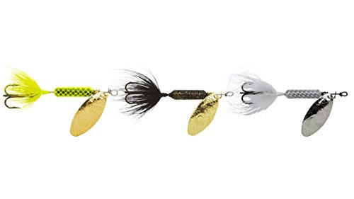 Yakima Bait Rooster Tail Trophy PAK 1/8oz Spinner Assortment, 3 Pack- CHR, Gbl, WH Mix ()