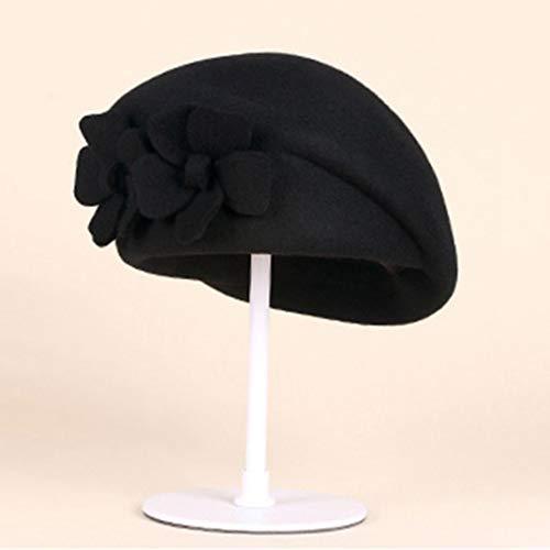 Sombreros Iglesia Negro Elegante De Fieltro Formal Las Moda Lana Derby Retro Clásico Olado Mujeres q8wvOn