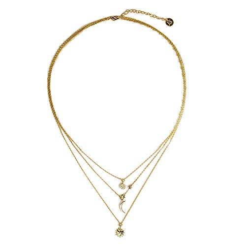 Jules Smith Celestial Gold Necklace for Women or Girls- 14K Gold Plated Multi-Layered Chain Necklace with Celestial Inspired Charms and Cubic Zirconia Crystals. Great for Layering or Wearing ()