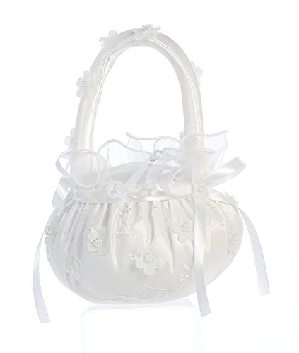 Lito Girls White Organza Pearled Flowers Adorned Flower Girl ()