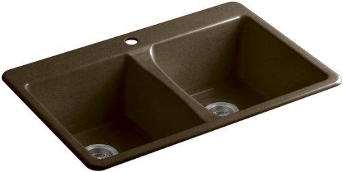 KOHLER K-5873-1-KA Deerfield Top-Mount Double-Equal Bowl Kitchen Sink with Single (Black Deerfield Kitchen Sink)