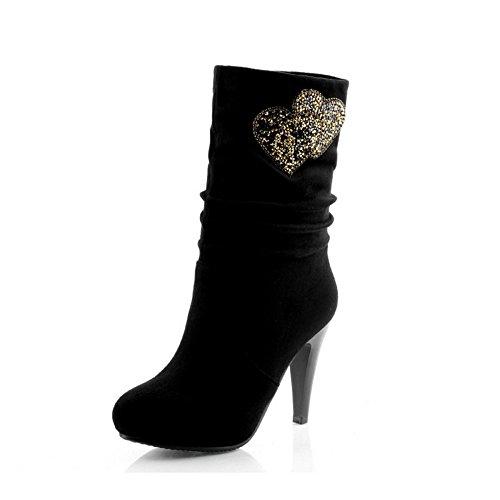 Amoonyfashion Dames Ronde Neus Dichte Neus Spikes Stilettos Laarzen Met Glijdende Zool Zwart
