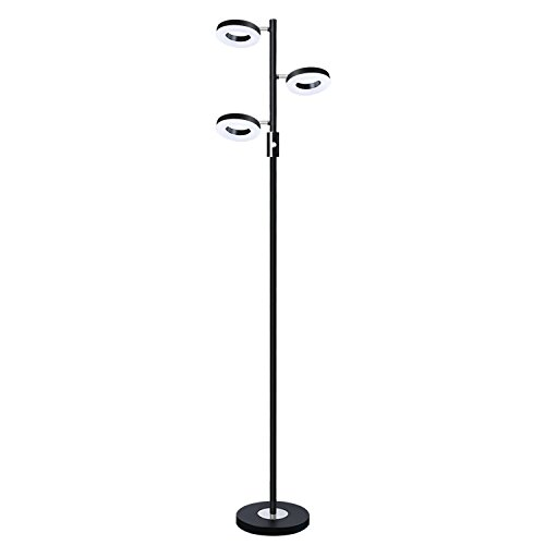 SUNLLIPE 3 Lights Floor Lamp Adjustable Tree Lamp, 60 inch 21 Watt Warm White Light Led Floor Lamps for Living Room, Bedroom and Office-Jet Black (Tree Torchiere)