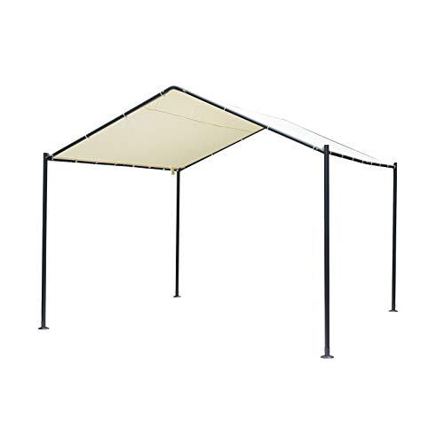 Outsunny 11.5' x 11.5' 1 Car Carport Canopy Tent with Metal Frame and Cloth Cover