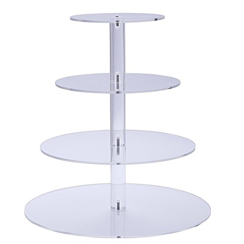 Sumerflos 4-Tier Round Cupcake Stand - Clear Acrylic Cake Tree Tower -Wedding, Party and Baby Shower Cupcake Display Stand (4-Tier-Round)
