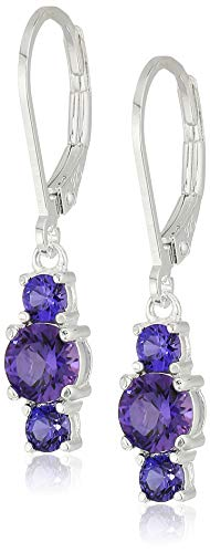 - Sterling Silver Created Alexandrite Sapphire 5mm and 3mm Three Stone June Birthstone Leverback Dangle Earrings