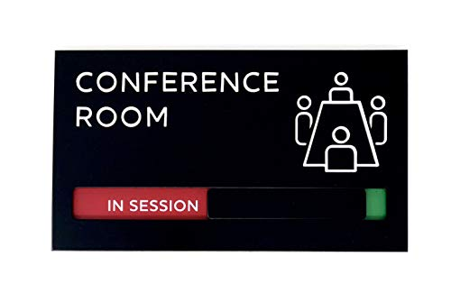 Kubik Letters Conference Room Sign with Slider for Dual Messages Room Status (Vacant or in Session)
