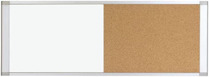 "MasterVision Combo Board Magnetic Dry Erase Whiteboard/Cork Bulletin Board, 48"" x 18"", Aluminum Frame"