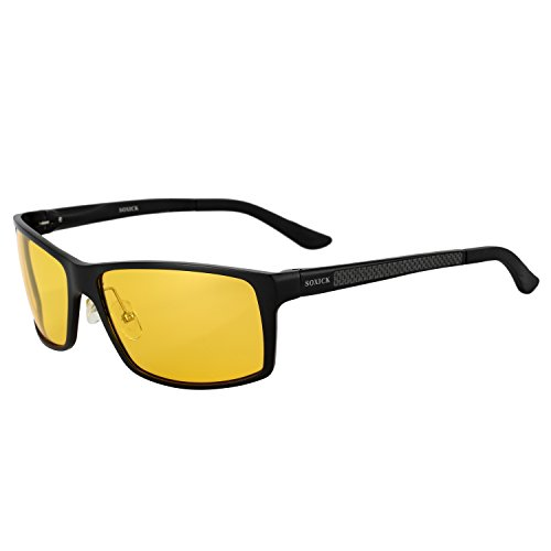 HD Night Driving Glasses Polarized Anti-glare Rain Day Night Vision Safe Glasses (Black-2, - And Black Glasses Yellow