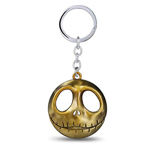 Dan's Collectibles and More NBC Jack Skellington Head Keychain Nightmare Before Christmas Halloween Pumpkin King Chain Bronze w/Gift Box (BronzeHead) -