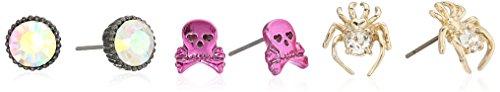 Betsey Johnson Halloween Spider and Skull Stud Earrings
